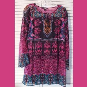 BEBOP Womens Size XS Pink BOHO Tunic Dress